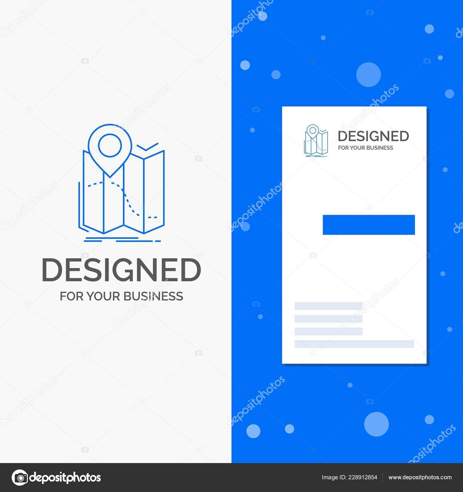 Logo De Lentreprise Pour Lemplacement Carte Gps Navigation Itineraire Vertical Bleu Business Modele Visite Illustration Stock