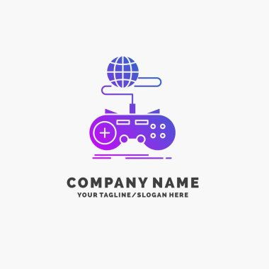 Game, gaming, internet, multiplayer, online Purple Business Logo Template. Place for Tagline.
