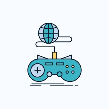 Game, gaming, internet, multiplayer, online Flat Icon. green and Yellow sign and symbols for website and Mobile appliation. vector illustration