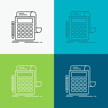 Accounting, audit, banking, calculation, calculator Icon Over Various Background. Line style design, designed for web and app. Eps 10 vector illustration