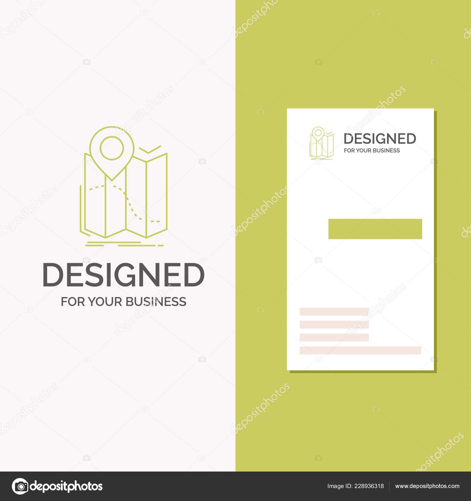 Logo De Lentreprise Pour Lemplacement Carte Gps Navigation Itineraire Vertical Green Business Modele Visite