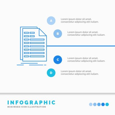Bill, excel, file, invoice, statement Infographics Template for Website and Presentation. Line Blue icon infographic style vector illustration