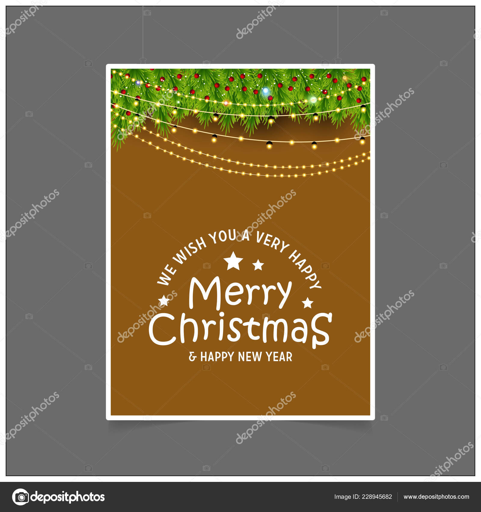 we wish you a very happy merry christmas and happy new year lights background vector by flatart
