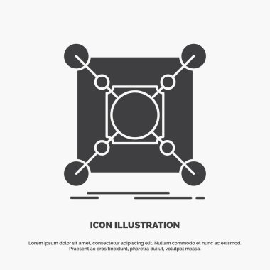 Base, center, connection, data, hub Icon. glyph vector gray symbol for UI and UX, website or mobile application