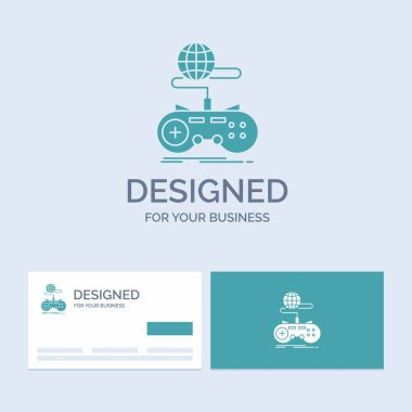Game, gaming, internet, multiplayer, online Business Logo Glyph Icon Symbol for your business. Turquoise Business Cards with Brand logo template.