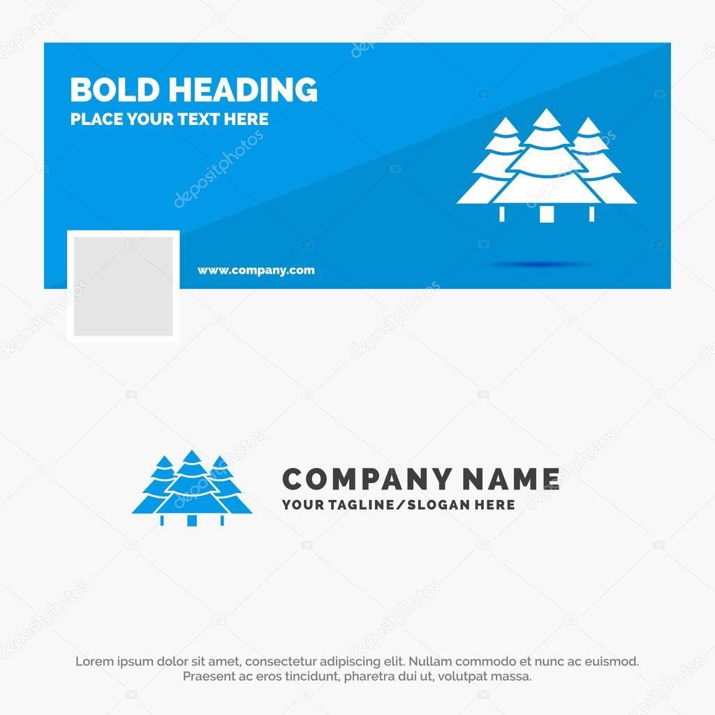Blue Business Logo Template for forest, camping, jungle, tree, pines. Facebook Timeline Banner Design. vector web banner background illustration