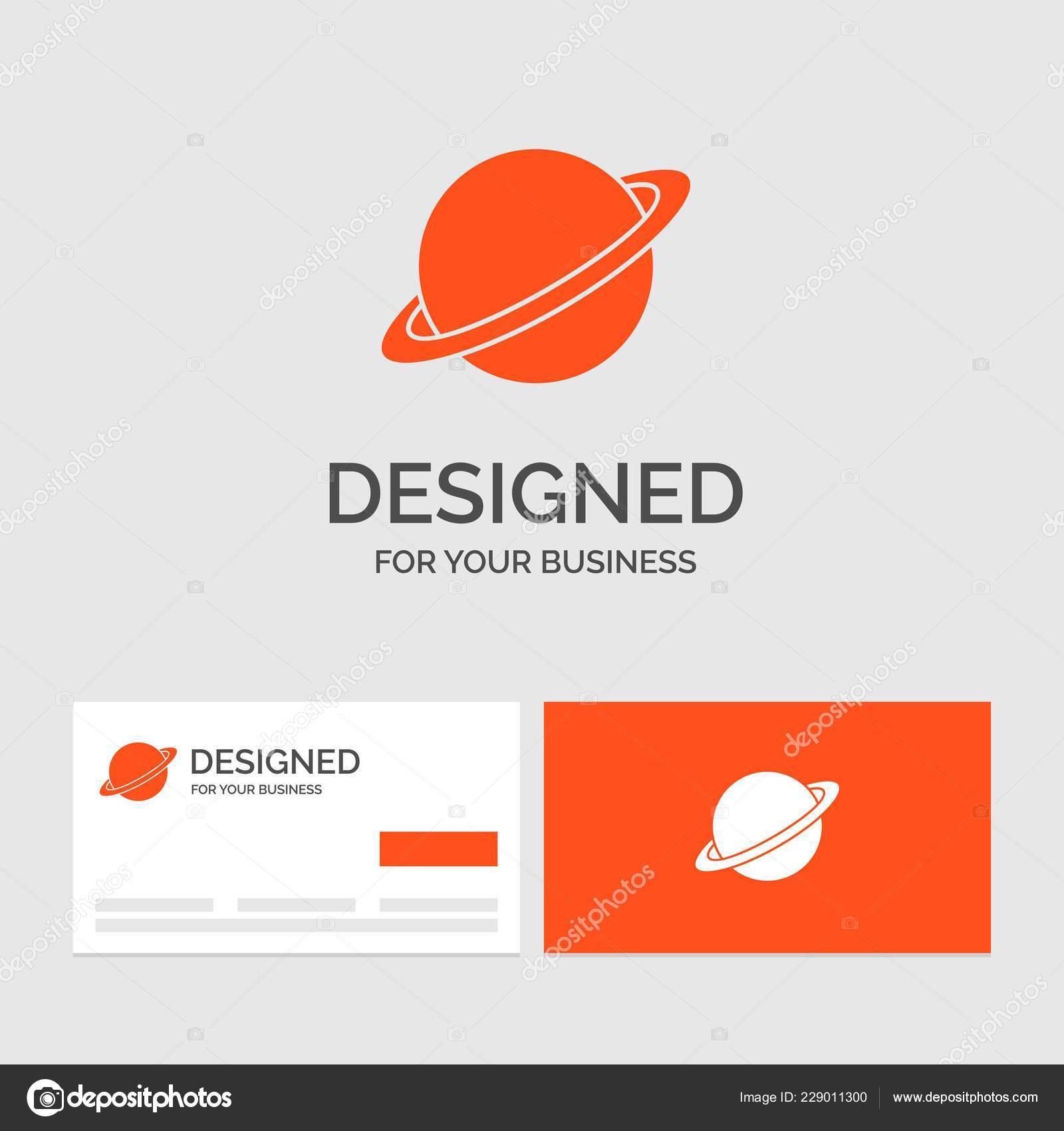 Modele De Logo Metier Pour La Planete Espace Lune Drapeau Mars Cartes Visite Orange Avec Marque Illustration Stock