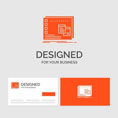 Business logo template for Window, Mac, operational, os, program. Orange Visiting Cards with Brand logo template. icon