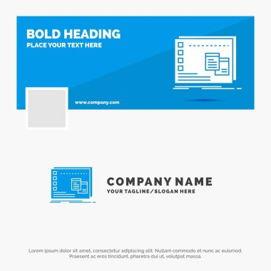 Blue Business Logo Template for Window, Mac, operational, os, program. Facebook Timeline Banner Design. vector web banner background illustration icon