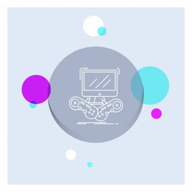 Game, gaming, internet, multiplayer, online White Line Icon colorful Circle Background