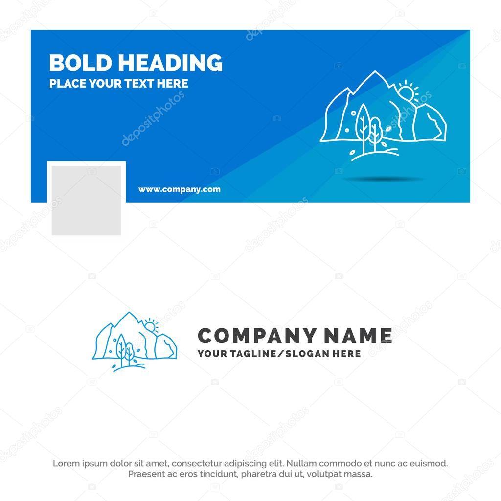 Blue Business Logo Template for hill, landscape, nature, mountain, tree. Facebook Timeline Banner Design. vector web banner background illustration