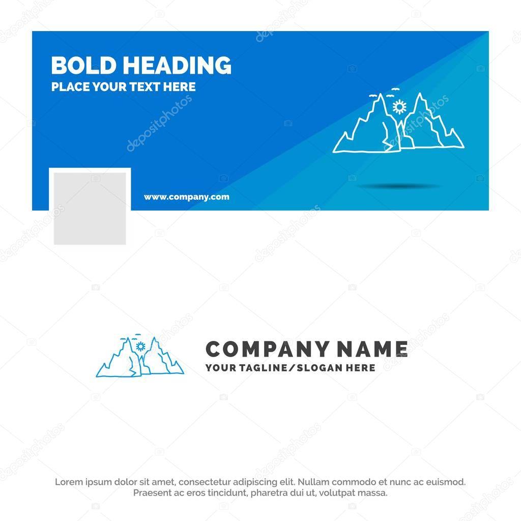Blue Business Logo Template for mountain, landscape, hill, nature, sun. Facebook Timeline Banner Design. vector web banner background illustration