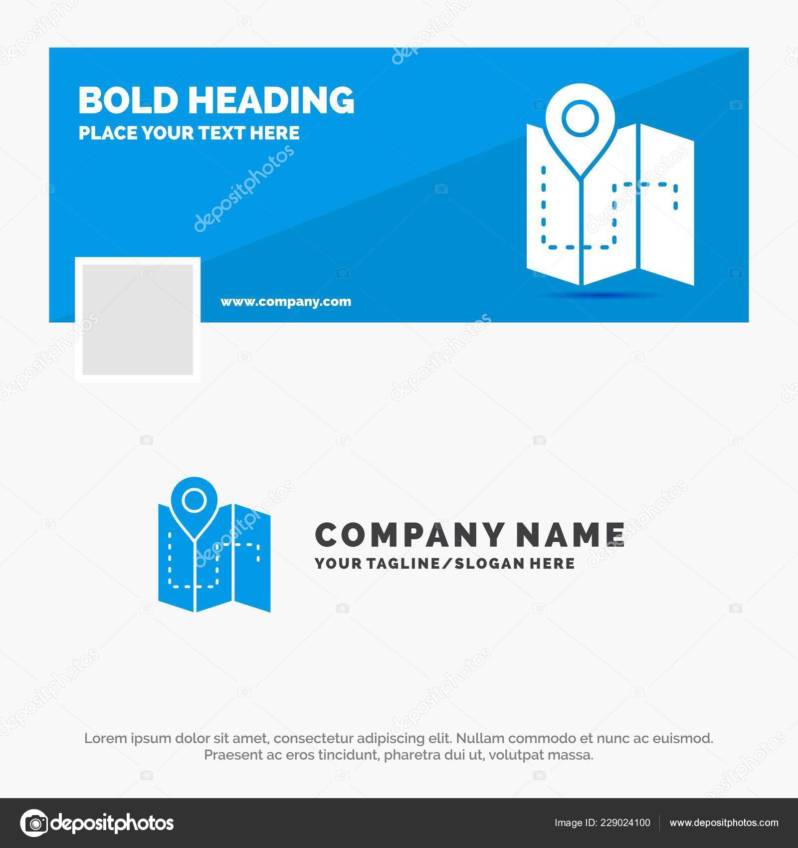 Blue Business Logo Template Map Camping Plan Track Location Facebook