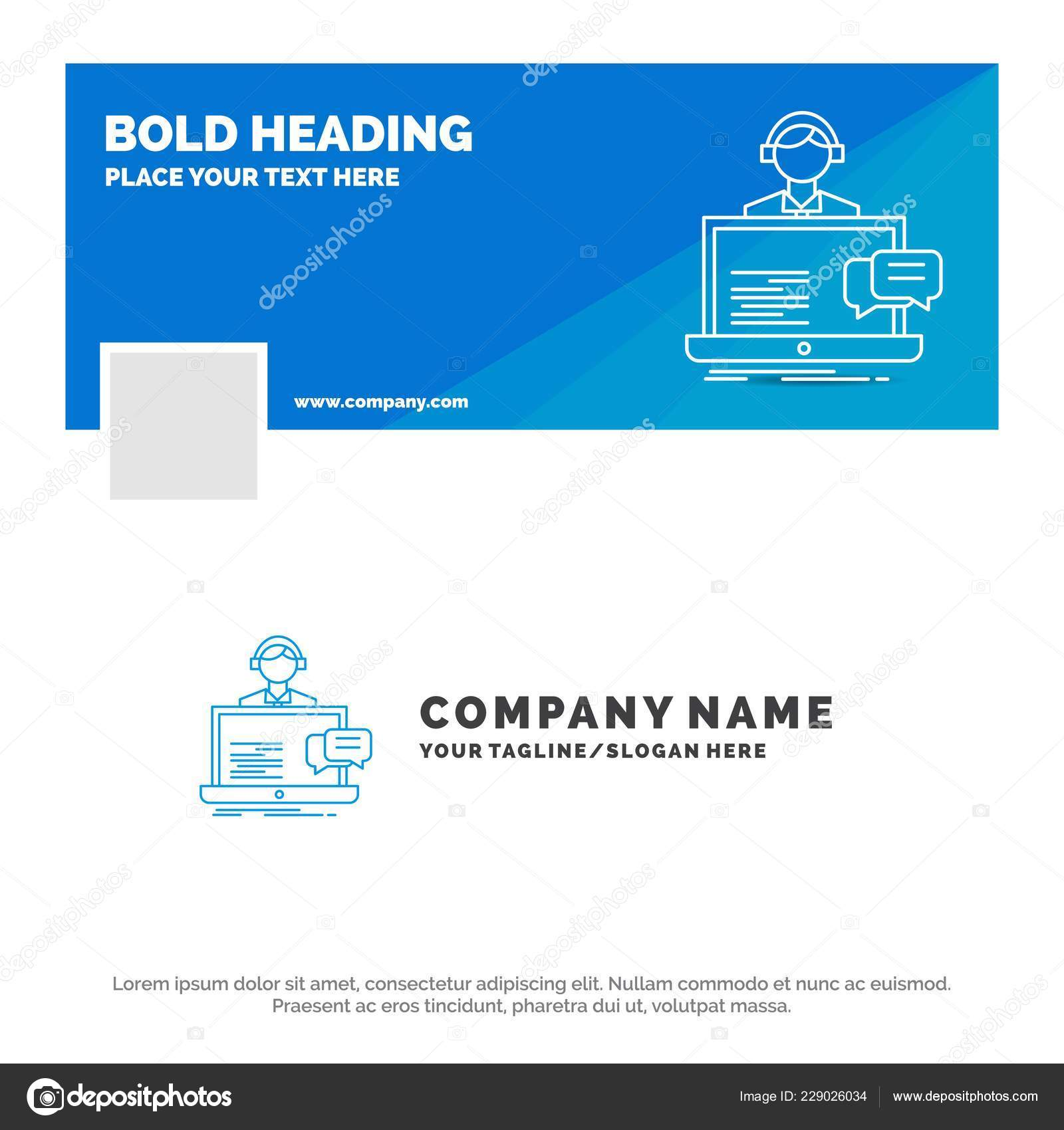 Blue Business Logo Template Support Chat Customer Service