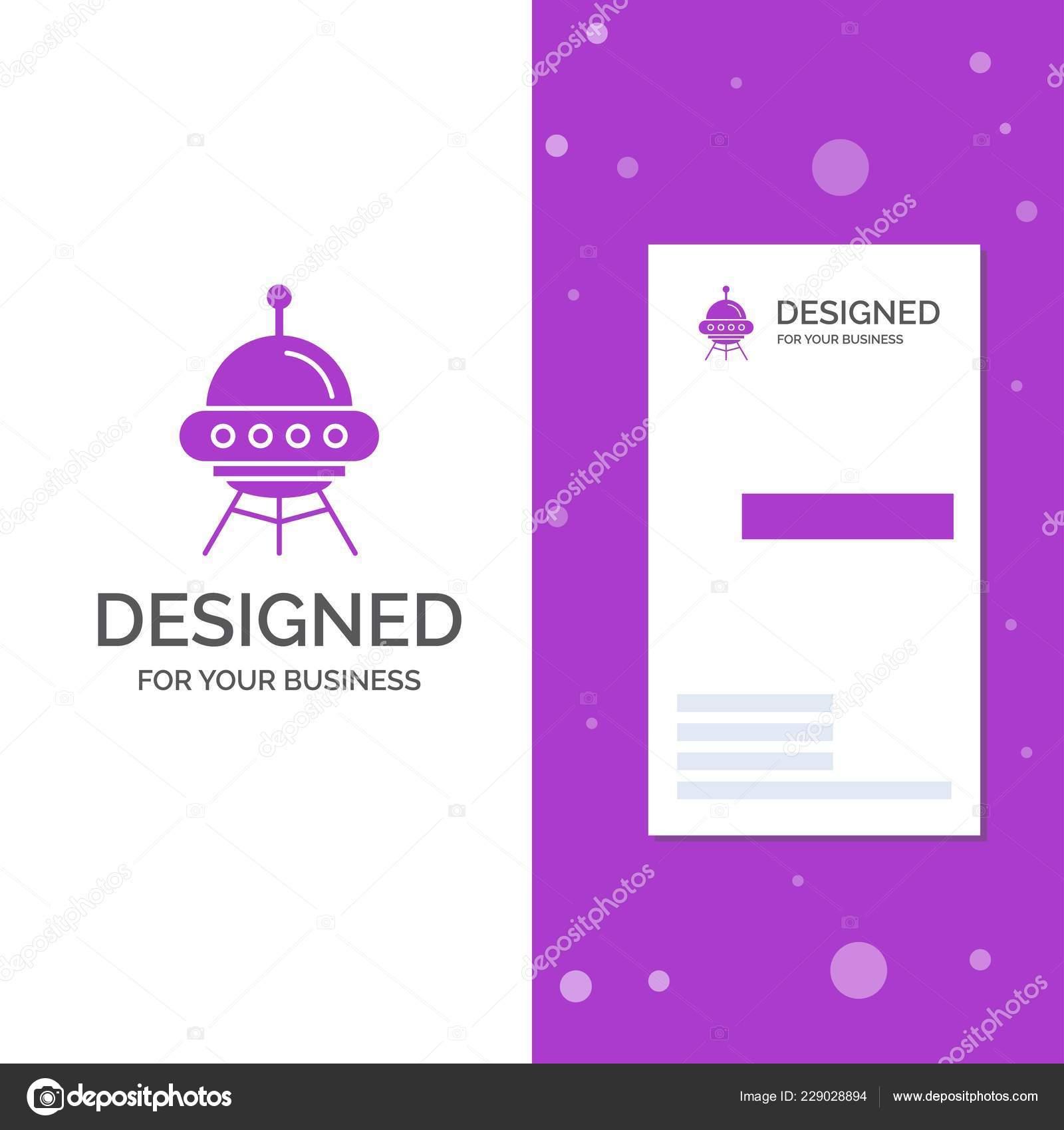 Logo De Lentreprise Pour Lespace Navire Vaisseau Spatial Fusee Alien Business Violet Vertical Modele Carte Visite