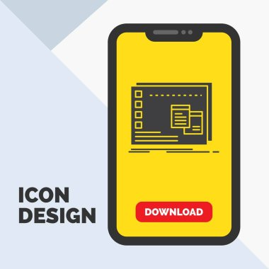 Window, Mac, operational, os, program Glyph Icon in Mobile for Download Page. Yellow Background icon
