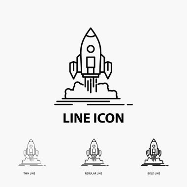 Launch, mission, shuttle, startup, publish Icon in Thin, Regular and Bold Line Style. Vector illustration