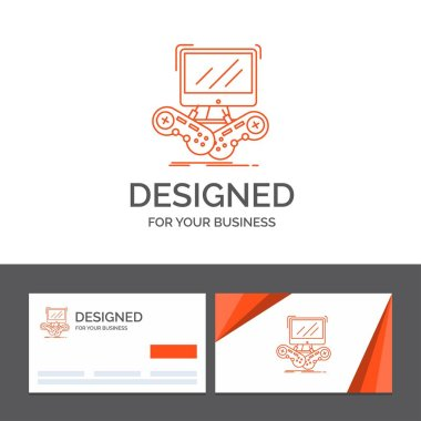 Business logo template for Game, gaming, internet, multiplayer, online. Orange Visiting Cards with Brand logo template
