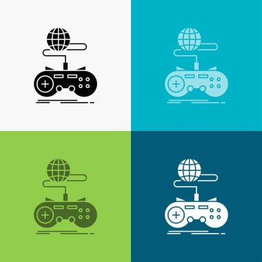 Game, gaming, internet, multiplayer, online Icon Over Various Background. glyph style design, designed for web and app. Eps 10 vector illustration
