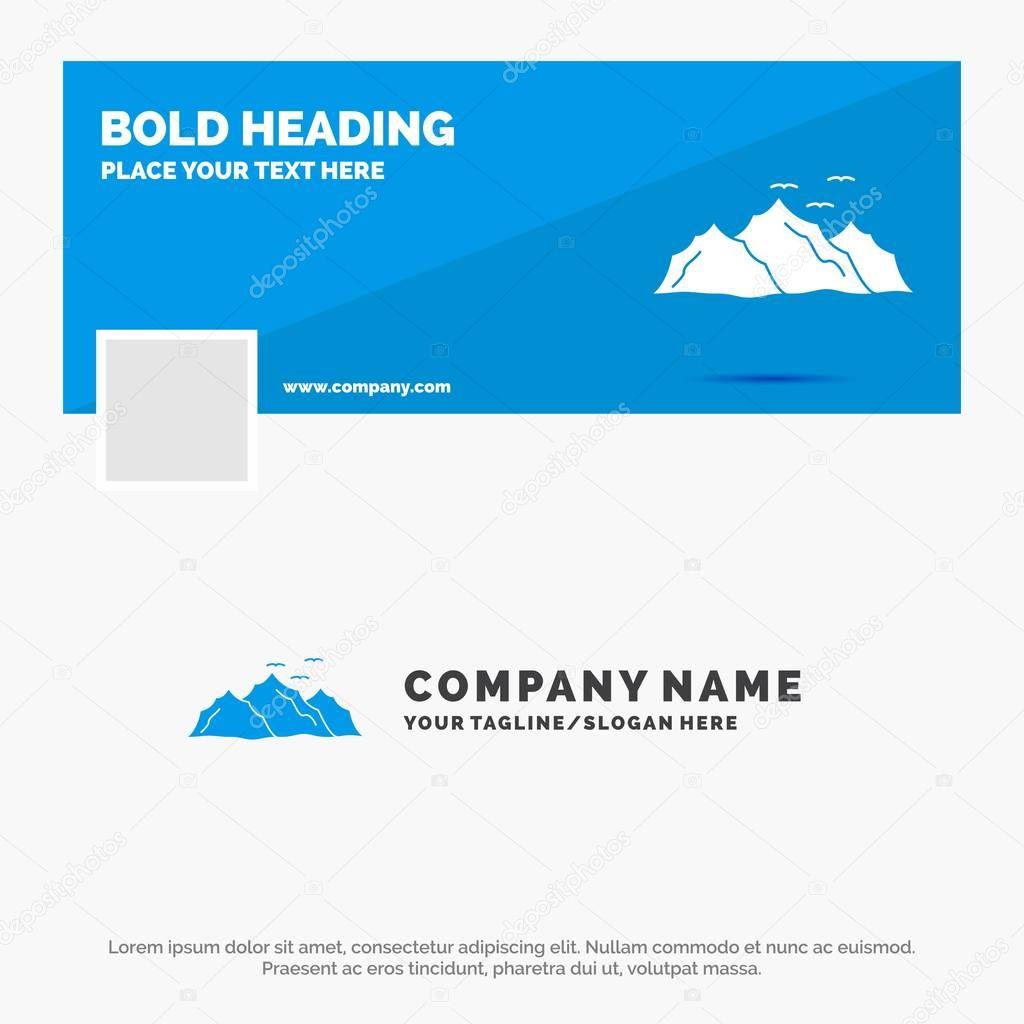Blue Business Logo Template for mountain, landscape, hill, nature, birds. Facebook Timeline Banner Design. vector web banner background illustration