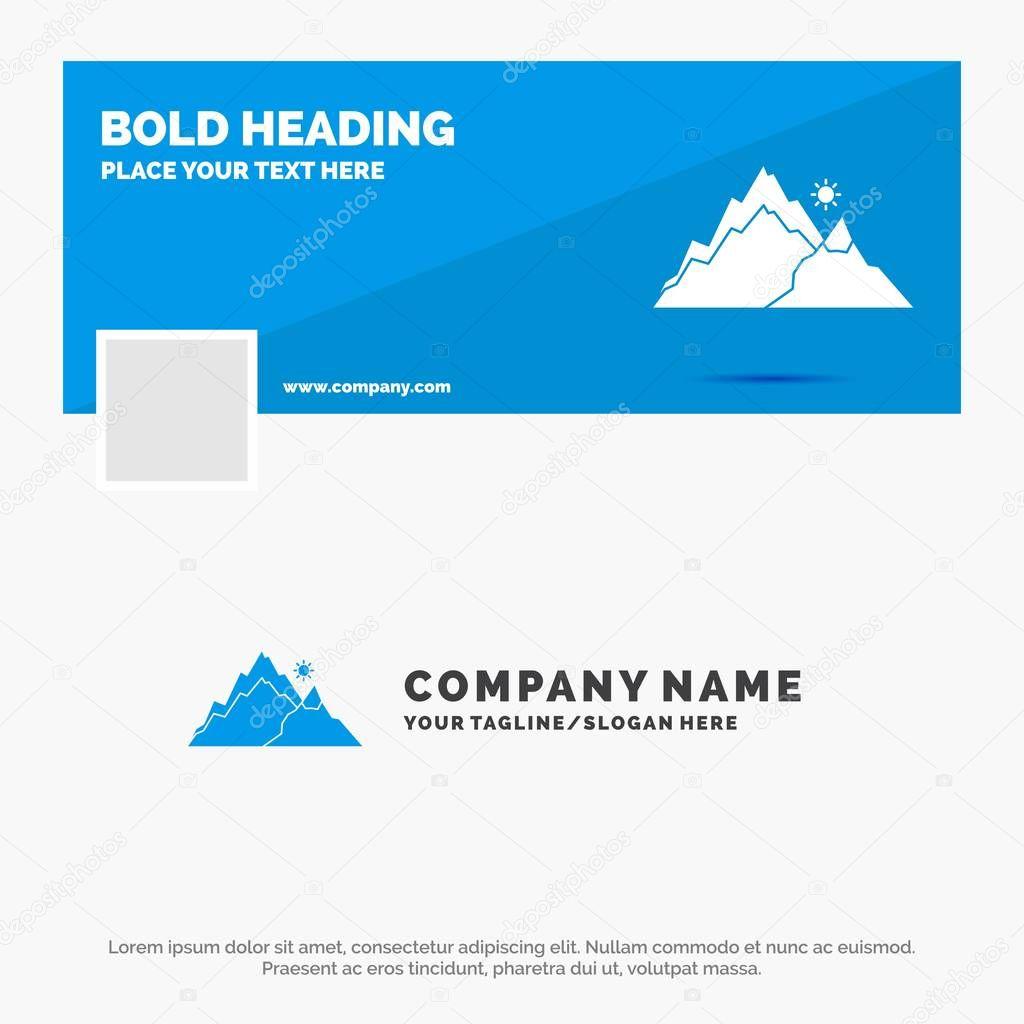 Blue Business Logo Template for mountain, landscape, hill, nature, tree. Facebook Timeline Banner Design. vector web banner background illustration