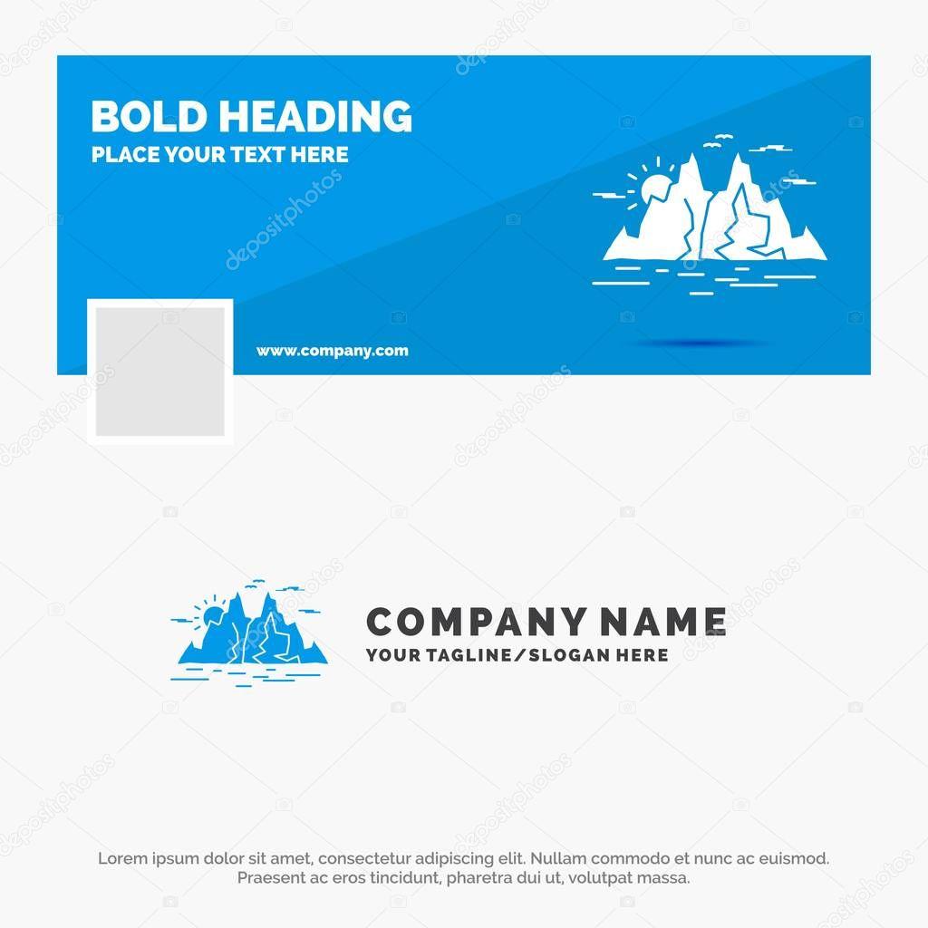 Blue Business Logo Template for Nature, hill, landscape, mountain, water. Facebook Timeline Banner Design. vector web banner background illustration