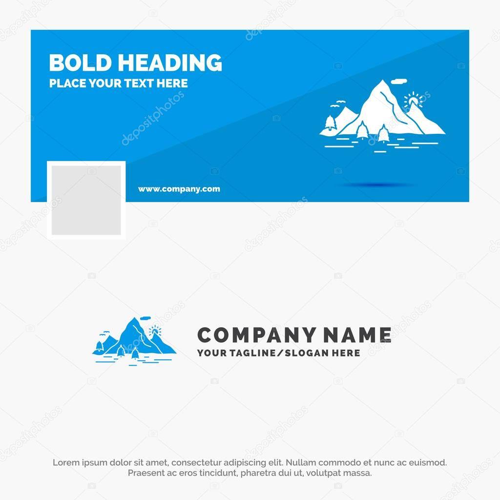 Blue Business Logo Template for Nature, hill, landscape, mountain, scene. Facebook Timeline Banner Design. vector web banner background illustration