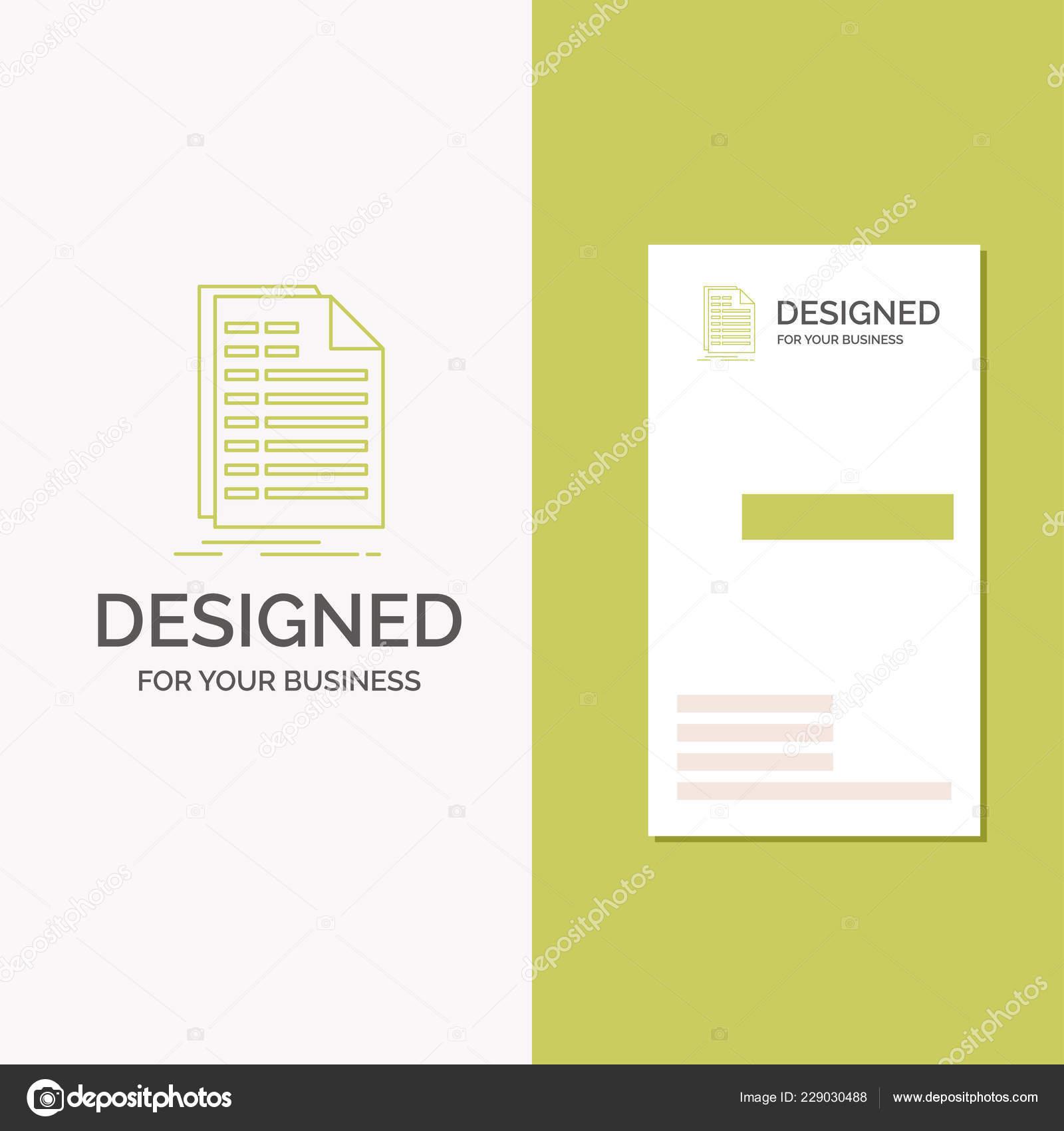Logo De Lentreprise Pour Le Projet Loi Excel Fichier Facture Lettre Vertical Green Business Modele Carte Visite