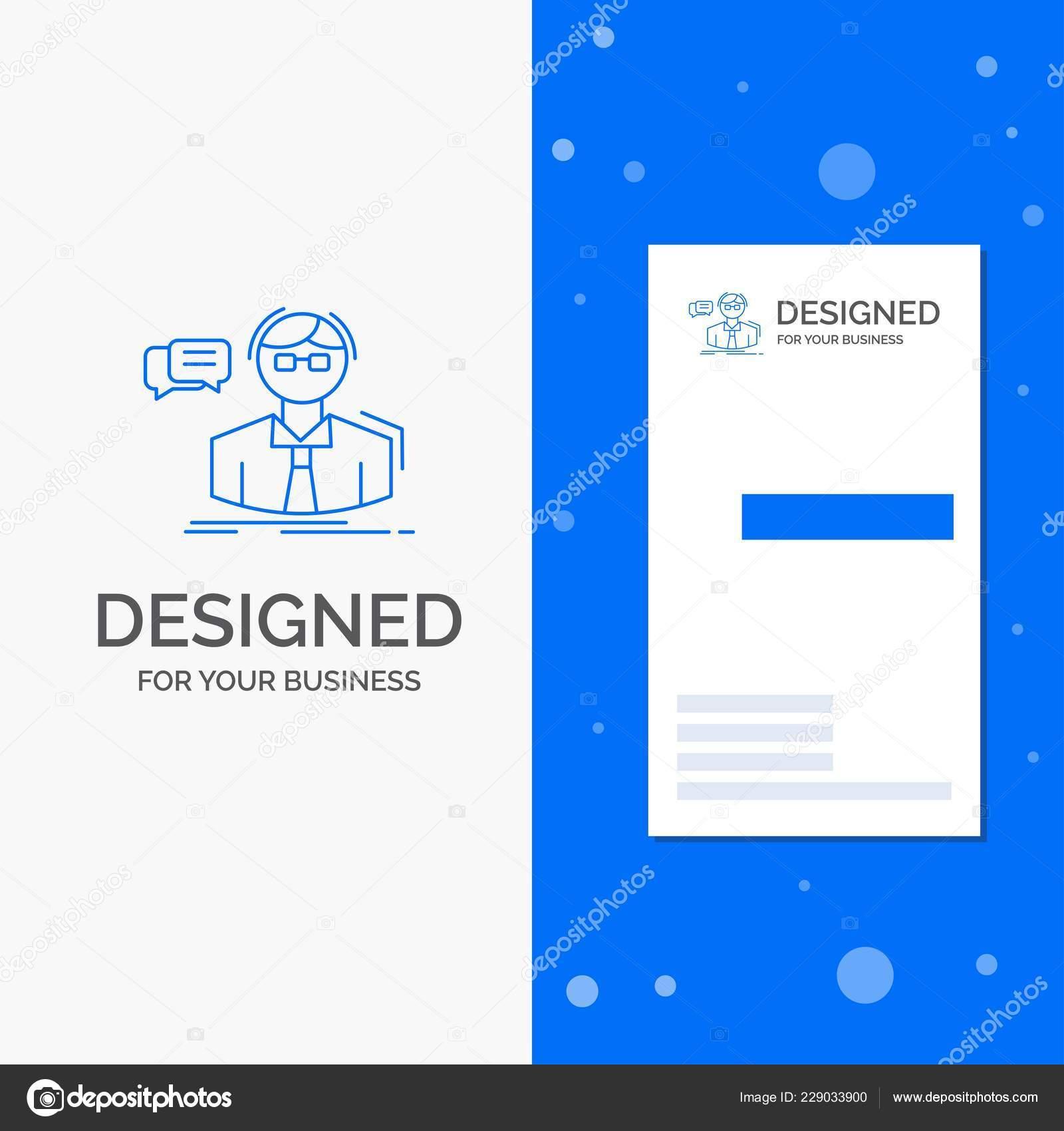 Logo De Lentreprise Pour Le Professeur Etudiant Chercheur Enseignant Ecole Vertical Bleu Business Modele Carte Visite Illustration Stock