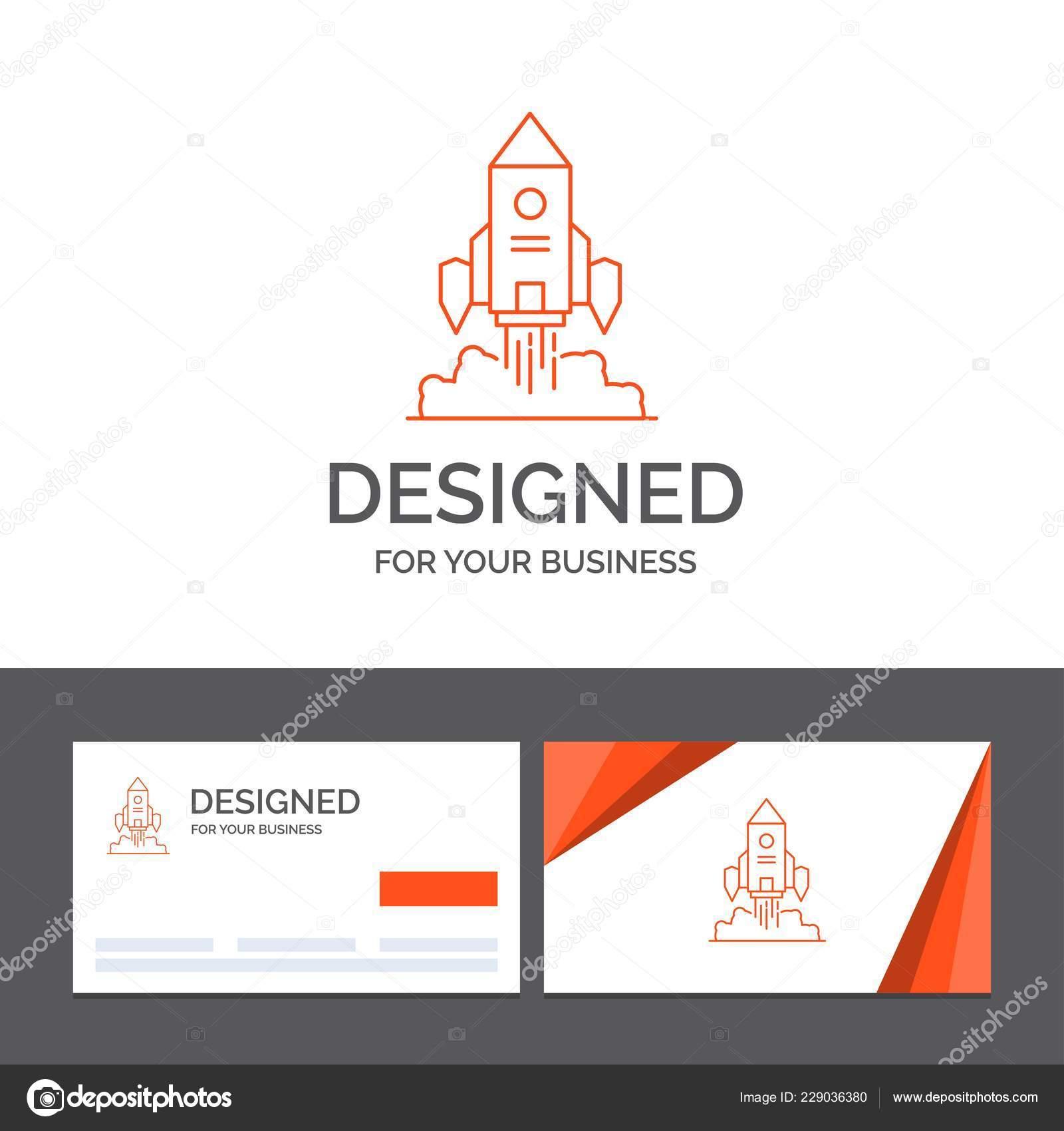 Descripteur De Logo Dentreprise Pour Rocket Vaisseau Spatial Demarrage Lancer Jeu Cartes Visite Orange Avec Modele Marque Illustration
