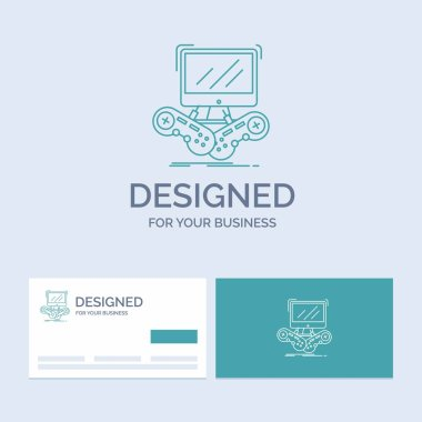 Game, gaming, internet, multiplayer, online Business Logo Line Icon Symbol for your business. Turquoise Business Cards with Brand logo template