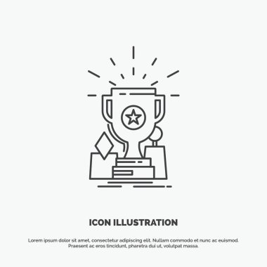 Achievement, award, cup, prize, trophy Icon. Line vector gray symbol for UI and UX, website or mobile application