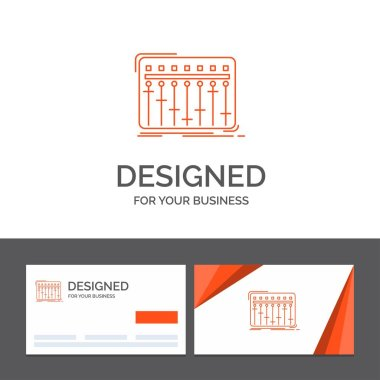 Business logo template for Console, dj, mixer, music, studio. Orange Visiting Cards with Brand logo template