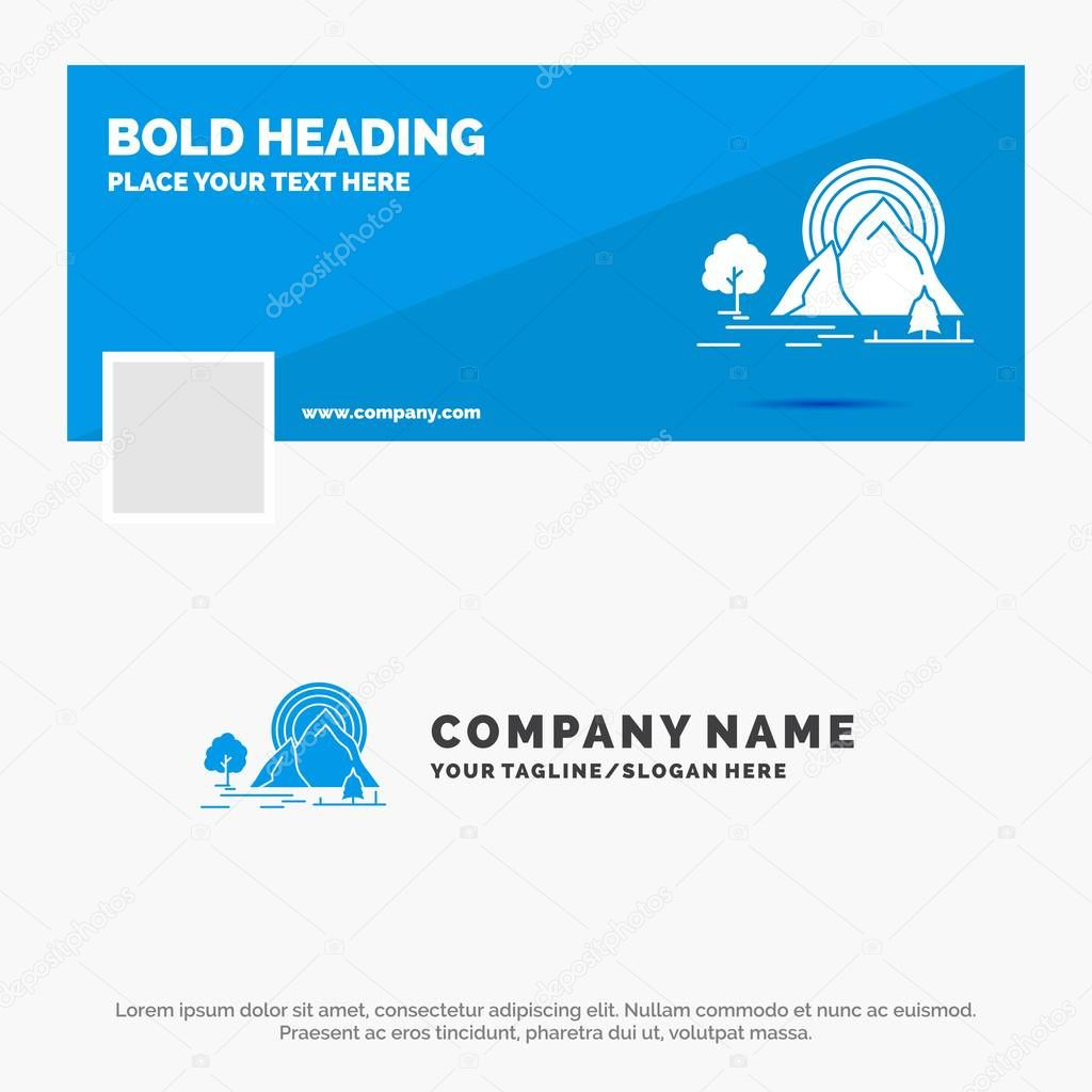 Blue Business Logo Template for Mountain, hill, landscape, nature, rainbow. Facebook Timeline Banner Design. vector web banner background illustration