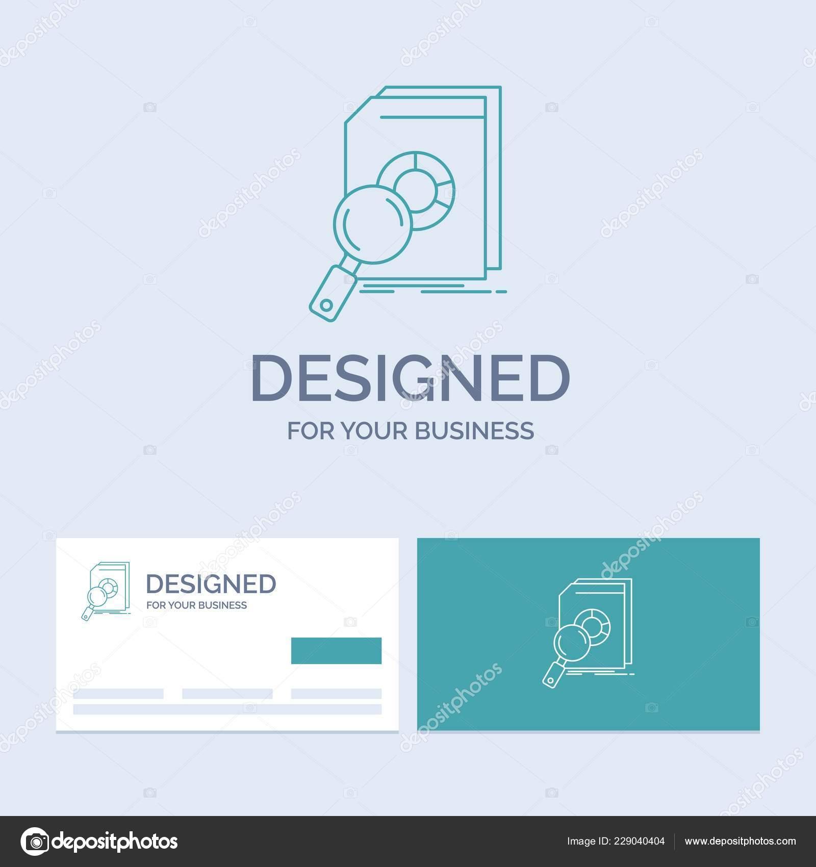 Analyse Donnees Financieres Marches Recherche Entreprise Logo Ligne Symbole Dicone Pour Votre Cartes De Visite Turquoise Avec Modele