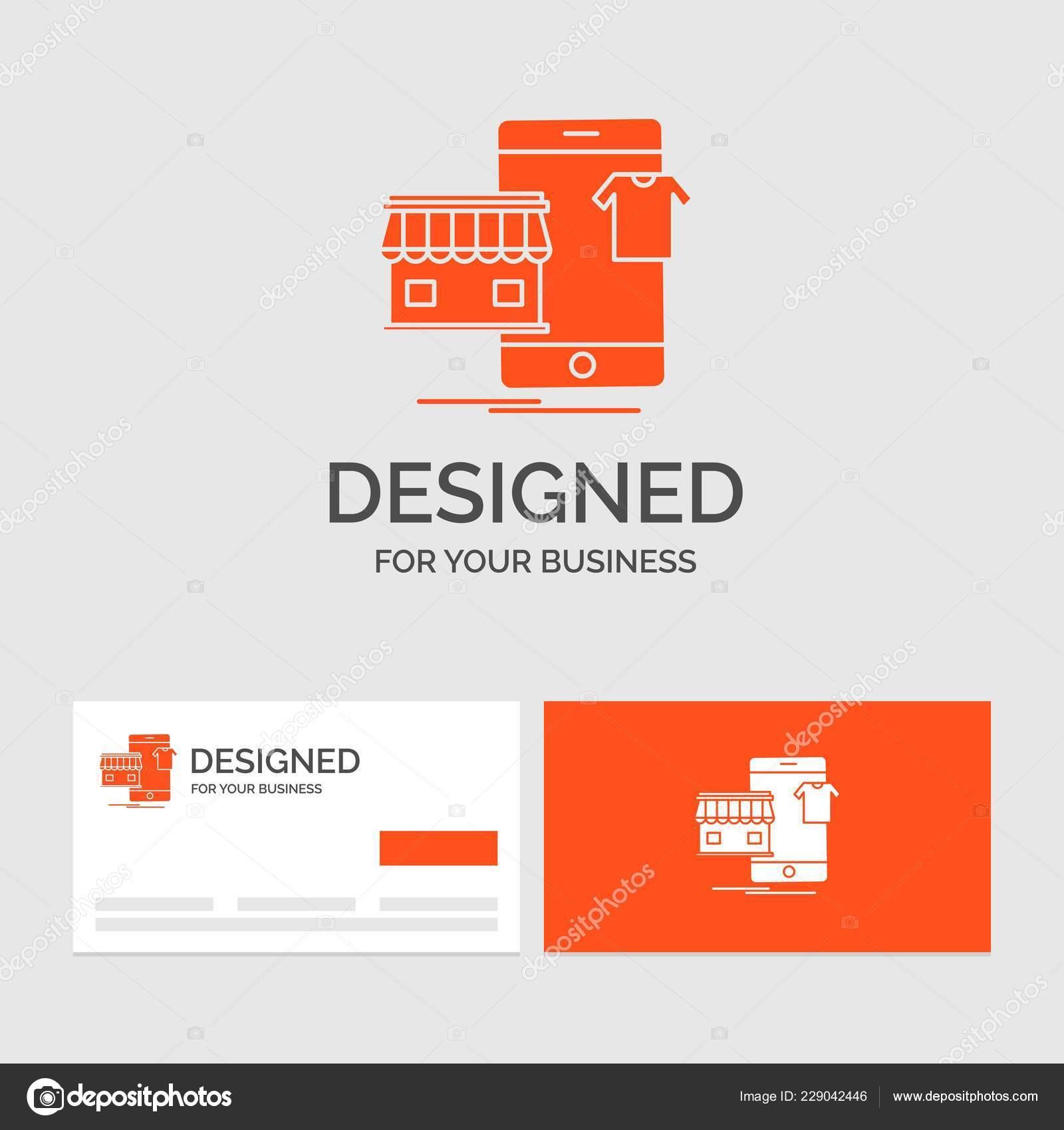 Descripteur De Logo Dentreprise Pour Faire Du Shopping Vetements Acheter En Ligne Boutique Cartes Visite Orange Avec Modele Marque