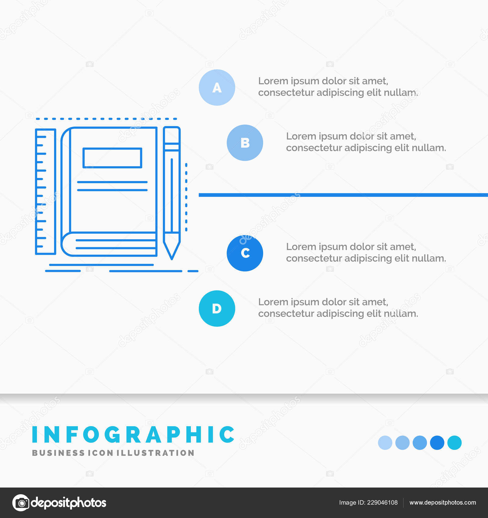 Book Notebook Notepad Pocket Sketching Infographics Template Website