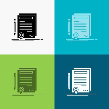 Business, certificate, contract, degree, document Icon Over Various Background. glyph style design, designed for web and app. Eps 10 vector illustration