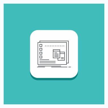 Round Button for Window, Mac, operational, os, program Line icon Turquoise Background icon