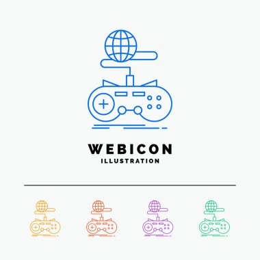 Game, gaming, internet, multiplayer, online 5 Color Line Web Icon Template isolated on white. Vector illustration