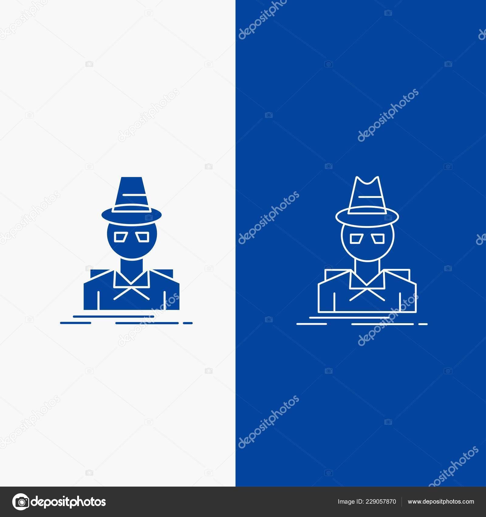 22d5e5d91 Detective Hacker Incógnito Espía Ladrón Línea Glifo Web Botón Azul — Vector  de stock