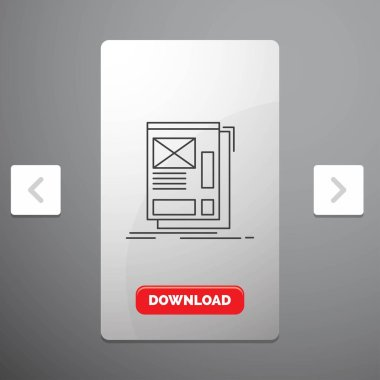 wire, framing, Web, Layout, Development Line Icon in Carousal Pagination Slider Design & Red Download Button