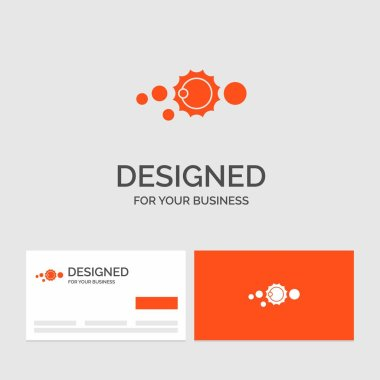 Business logo template for solar, system, universe, solar system, astronomy. Orange Visiting Cards with Brand logo template.
