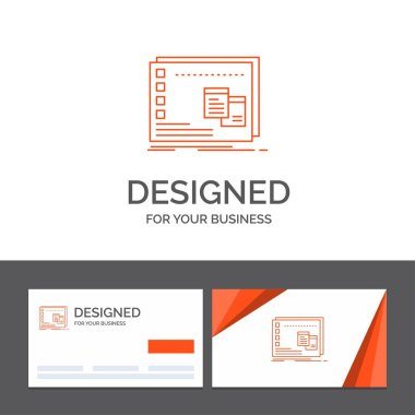 Business logo template for Window, Mac, operational, os, program. Orange Visiting Cards with Brand logo template icon