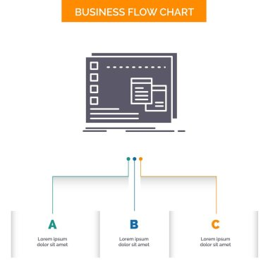 Window, Mac, operational, os, program Business Flow Chart Design with 3 Steps. Glyph Icon For Presentation Background Template Place for text. icon