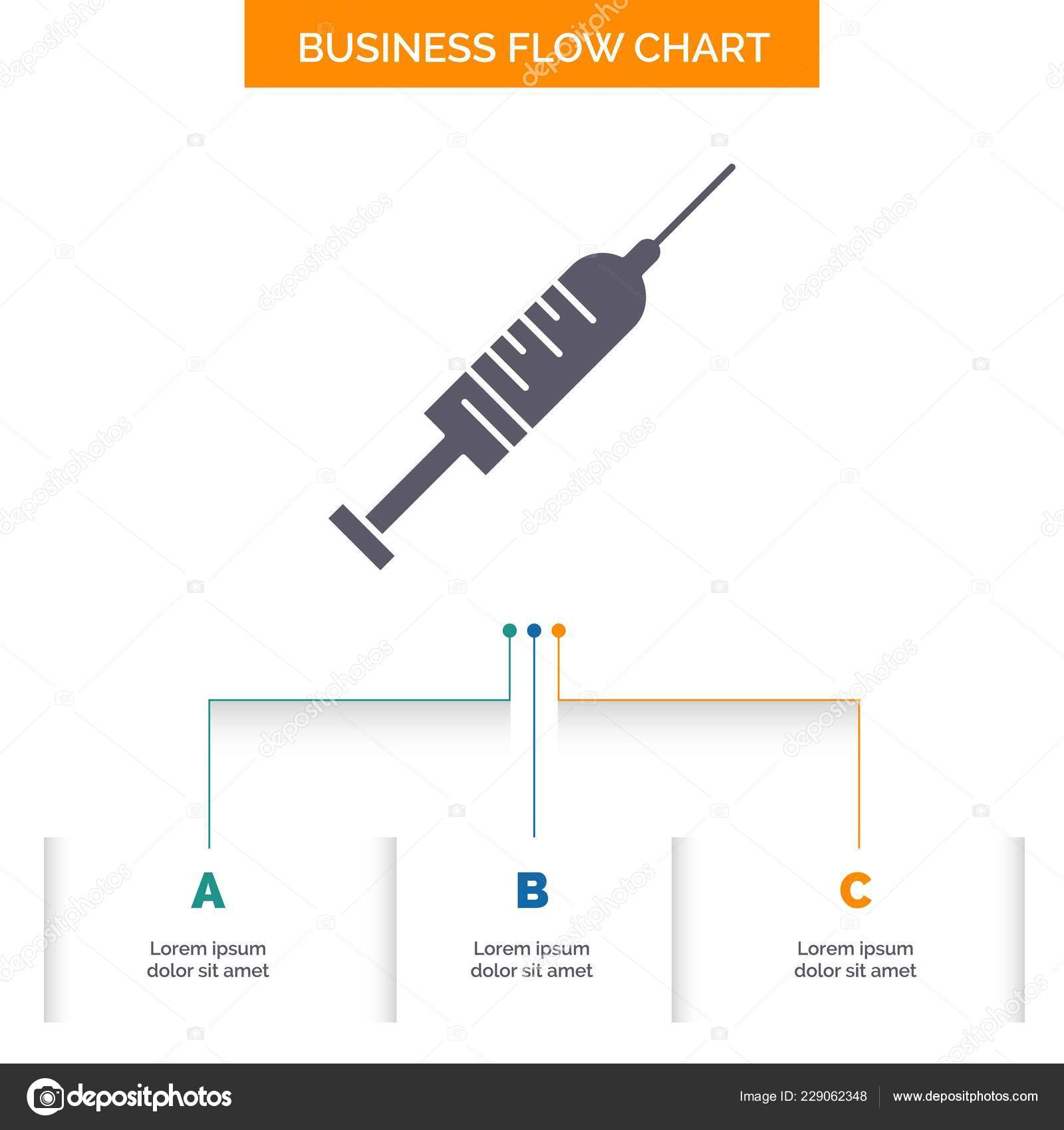 syringe injection vaccine needle shot business flow chart design steps —  stock vector