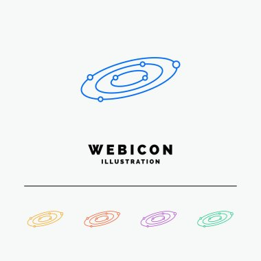 Galaxy, astronomy, planets, system, universe 5 Color Line Web Icon Template isolated on white. Vector illustration