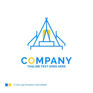 tent, camping, camp, campsite, outdoor Blue Yellow Business Logo