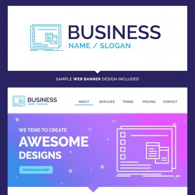 Beautiful Business Concept Brand Name Window, Mac, operational, os, program Logo Design and Pink and Blue background Website Header Design template. Place for Slogan / Tagline. Exclusive Website banner and Business Logo design Template icon