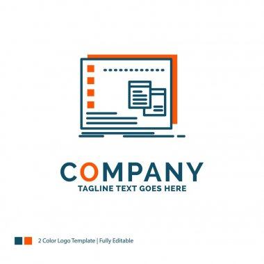 Window, Mac, operational, os, program Logo Design. Blue and Orange Brand Name Design. Place for Tagline. Business Logo template. icon